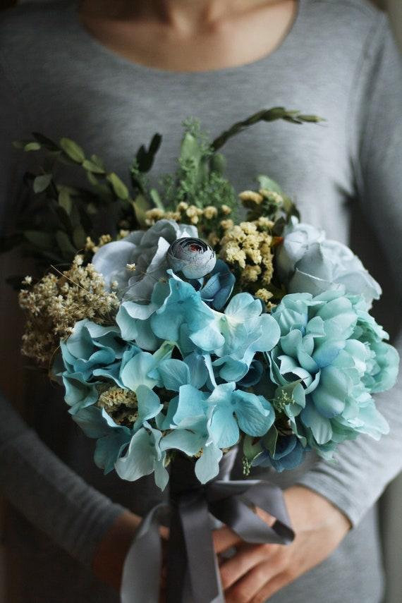 Eucalyptus bouquet greenery Wedding bouquet blue flowers | Etsy