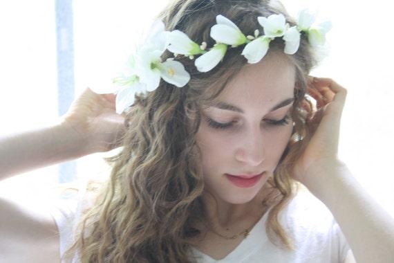 Bridal flower crown floral crown bridal tiara boho hippie etsy image 0 mightylinksfo