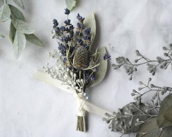 Eucalyptus Boutonniere lavender boutonniere blue thistle boutonniere lapel pin Woodland wedding buttonhole dried flower boutonniere corsage