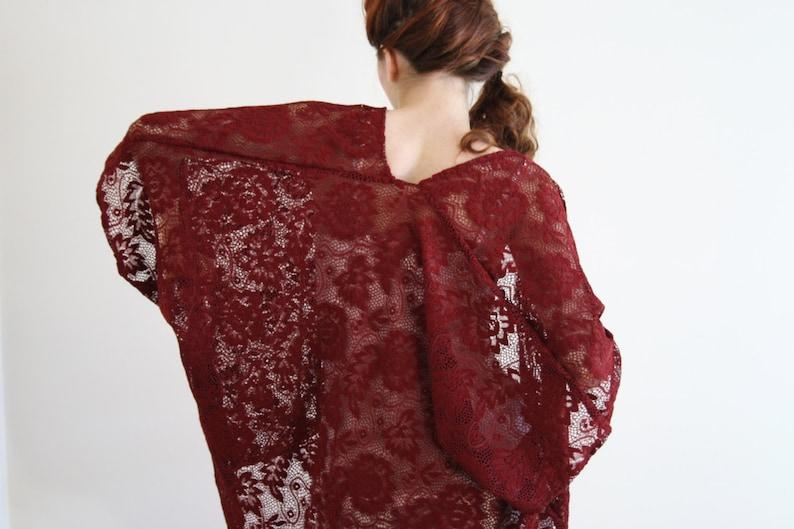 0e4c28dc71 Lace kimono jacket Sheer marsala boho Kimono robe Kimono | Etsy
