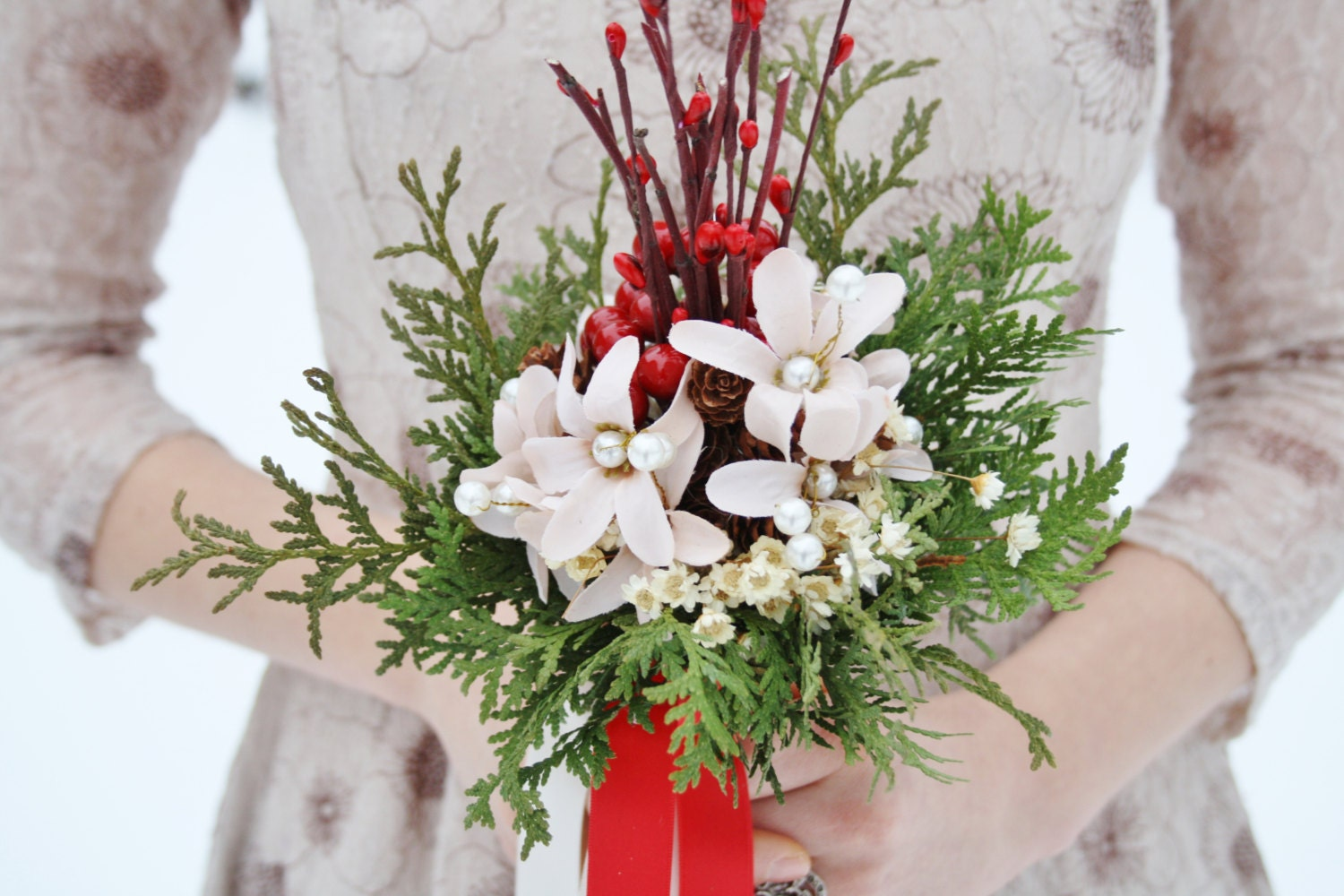 Rustic Bridal Bouquet Winter Wedding Bouquet White Flowers Etsy