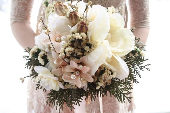 Bridal Bouquet Winter Ivory Wedding Bouquet Dried Natural Etsy