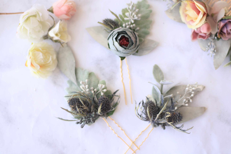 Eucalyptus blue thistle hair pins greenery Bridal hair pin   Etsy