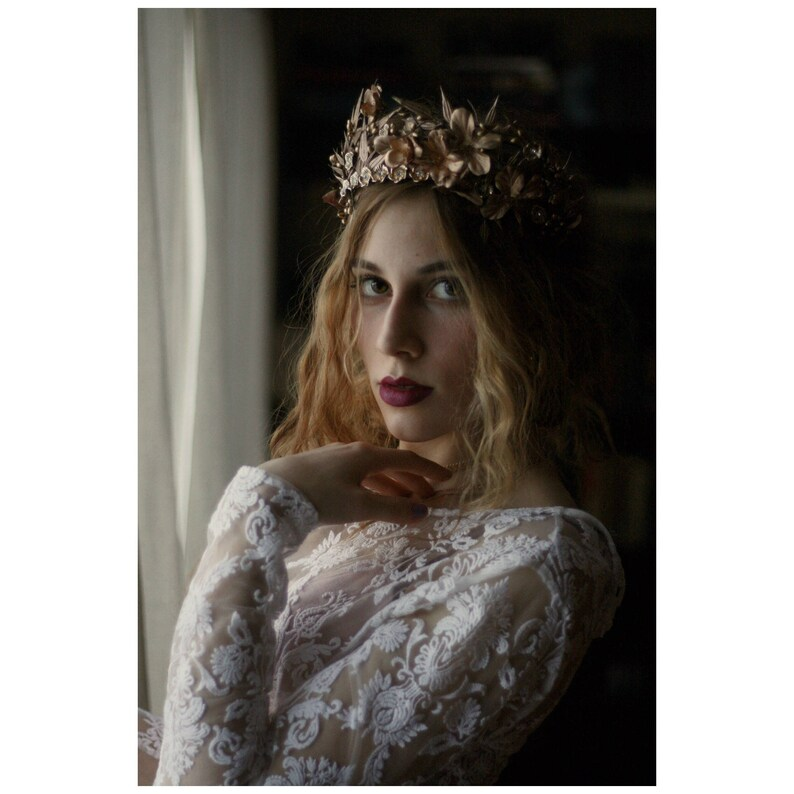 Gold flower crown floral crown bridal tiara gold flower headband bridal wreath wedding flower crown bridal hair DAUPHINE