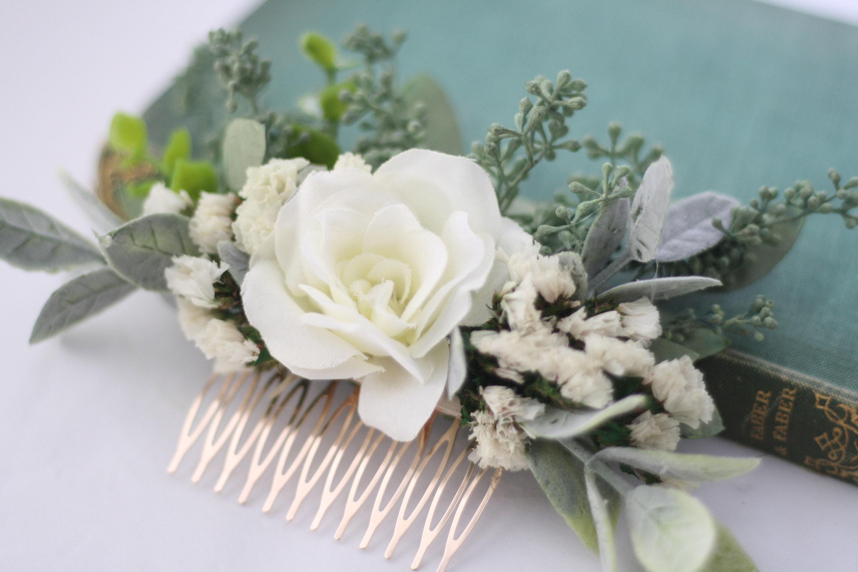 Eucalyptus hair comb white greenery succulent hair vine dried   Etsy