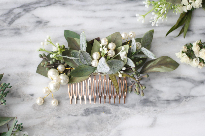 Eucalyptus pearl bridal comb greenery Bridal hair piece boho   Etsy