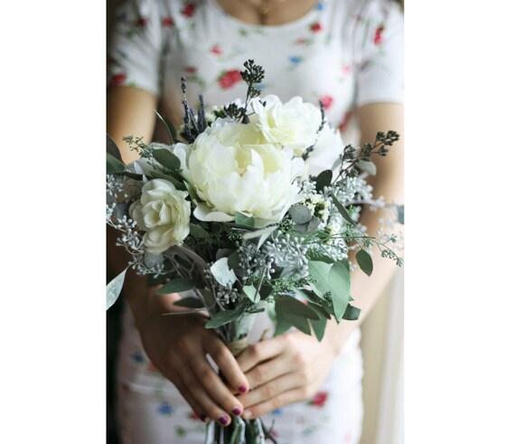 Eukalyptus Strauss Grun Hochzeit Blumenstrauss Elfenbein Blumen Etsy