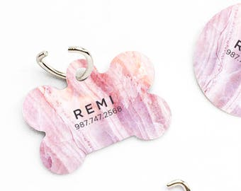 Dog Tag Pink Marble Pet Tag Personalized Dog Tag Pink Marble Print Pet Tag Dog ID Tag Marble Print Pet Tag Puppy Tag Dog Pet Tag 55.