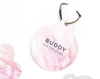 Pink Marble Dog Tag Marble Pet Tag Personalized Dog Tag Pink Marbles Pet Tag Dog ID Tag Marbled Pet Tag Puppy Tag Dog ID Pet Tag 12.
