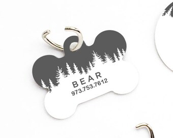 e68fe03795f2 Pet ID Tag, Custom Pet Tag, Personalized Dog Tag, Forest Pet Tag, Dog ID Tag,  Forest Pet Tag, Puppy Tag, Dog Pet Tag U98