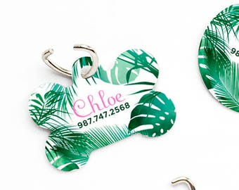 Tropical Leaves Dog Collar Tag Dog Tags for Dogs Dog ID Tag Dog Tag Dog Tags for Small Dogs Pet Tags Pet Gift Pet ID Tags Pet ID Tag Dog 69.
