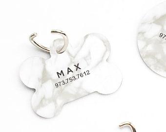 Pet ID Tag, Custom Pet Tag, Personalized Dog Tag, White Marble Print Pet Tag, Dog ID Tag, Marble Print Pet Tag, Puppy Tag, Dog Pet Tag T123