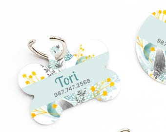 Floral Dog Collar Tag Dog Tags for Dogs Flower Dog ID Tag Dog Tag Dog Tags for Small Dogs Pet Tags Pet Gift Pet ID Tags Pet ID Tag Dog 77.