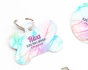 Dog Tag Rainbow Marble Pet Tag Personalized Dog Tag Pink Marble Print Pet Tag Dog ID Tag Marble Print Pet Tag Puppy Tag Dog Pet Tag 163.
