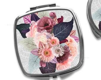 Fall Floral Compact Mirror Purse Mirror Personalized Mirror Travel Mirror Custom Gift Purse Mirror Bridesmaid Gift Makeup Mirror 8.