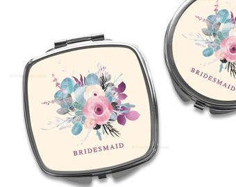 Bridesmaid Compact Mirror Purse Mirror Personalized Mirror Travel Mirror Custom Gift Purse Mirror Floral Bridesmaid Gift Makeup Mirror 14.