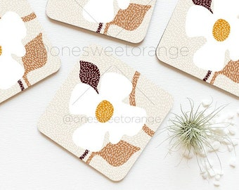 White Daisies Coaster Set of 4 Floral Daisy Cork Coasters Modern Daisy Coaster Set Daisy Flower Coasters Gift for Mom Coaster Set Gift 89.