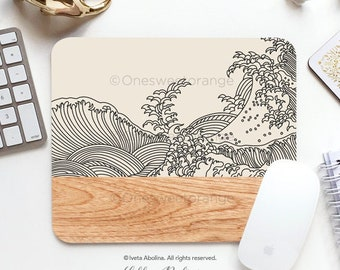 Mouse Pad Japanese Big Wave Mouse Pad Wave Mouse Pad Office Mouse Pad Personalized Mouse Pad Desk Accessories Mouse Pad Round Mousepad 221