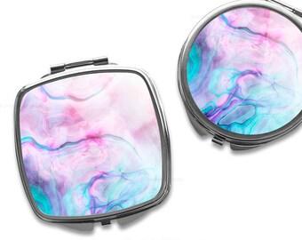 Compact Mirror Purse Mirror Personalized Mirror Travel Mirror Custom Gift Purse Mirror Abstract Mirror Bridesmaid Gift Makeup Mirror 4.