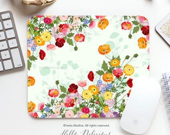 Mouse Pad Floral Summer Office Gift Mousepad Floral Mouse Pad Flower Mousepad Poppy Mousepad Mouse Mat Rectangular Rose Mousepad Round 150.