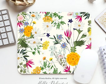 Spring Floral Mouse Pad Mousepad Spring Mouse Mat Floral Mouse Pad Office Mousemat Rectangular Mousemat Floral Print Mousepad Round 134.