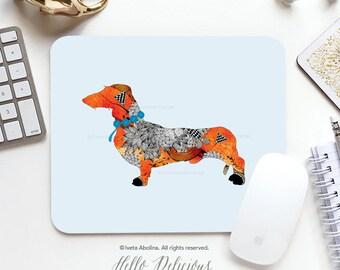 "Dog Mousepad ""Wiener Dog"" by Iveta Abolina Mousepad Mouse Mat Dachshund Mousepad Office Mousemat Heart Mousemat Mousepad Round I144"