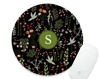 Fall Floral Monogram Mousepad Flower Mouse Mat Floral Mouse Pad Office Mousemat Rectangular Floral Personalized Mousepad Round 94.