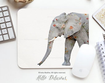 Mouse Pad Elephant Mousepad Gray Elephant Mouse Mat Floral Mouse Pad Office Mousemat Rectangular Mousemat Elephant Mousepad Round U76