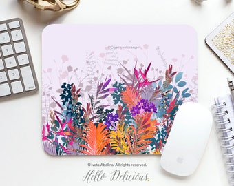 Summer Garden Mousepad Floral Mouse Pad Floral Mousepad Garden Mousepad Office Mousemat Rectangular Mousepad Round 23.