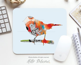 "Bird Mousepad ""Little Bird"" by Iveta Abolina Mousepad Mouse Mat Floral Bird Mouse Pad Office Mousemat Rectangular Mousemat Mousepad Round I4"