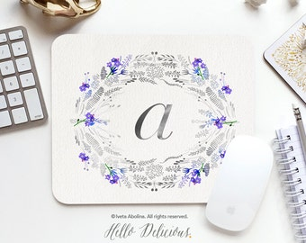 Monogram Mouse Pad Mousepad Floral Watercolor Mouse Mat Wreath Mouse Pad Office Mousemat Rectangular Floral Personalized Mousepad Round 16B.