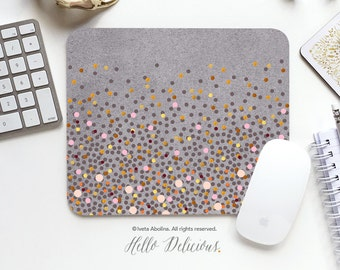 Mouse Pad Gray Mousepad Coral Pink Polka Dots Mouse Mat Polka Mouse Pad Office Mousemat Rectangular Mousemat Print Mousepad Round 79.