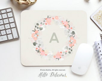 Monogram Mouse Pad Mousepad Floral Watercolor Mouse Mat Wreath Mouse Pad Office Mousemat Rectangular Floral Personalized Mousepad Round 72.