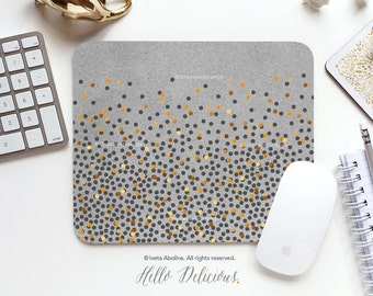 Mouse Pad Polka Dots Mousepad Gray Mousepad Faux Gold Polka Dots Mouse Mat Mouse Pad Office Mousemat Heart Mousemat Mousepad Round I196