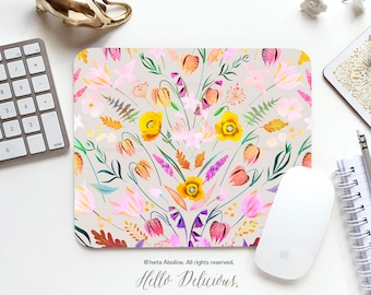Spring Floral Mouse Pad Mousepad Spring Mouse Mat Floral Mouse Pad Office Mousemat Rectangular Mousemat Floral Print Mousepad Round 129.