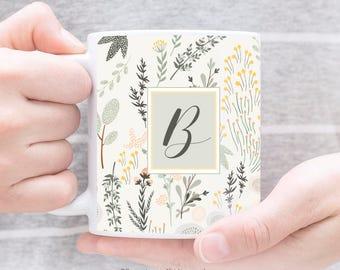 Personalized Mug Floral Mug Calligraphy Mug Floral Coffee Mug Botanical Illustration Gift for Her Hostess Gift Flower Cup Custom Gift 22.