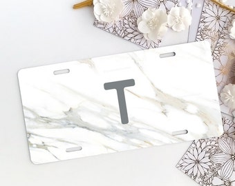 Personalized Car License Plate, Monogrammed License Plate Frame Marble Print Car Plate Frame Individualized Car License Plate Frame Set 08.