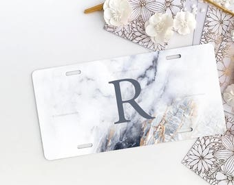 Marble Car License Plate Personalized License Plate Frame Marble Car Plate Frame Individualized Car License Plate Frame Set 26.