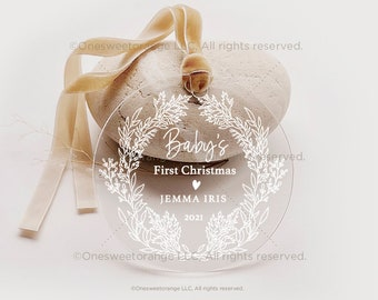 Baby's First Christmas Ornament New Baby Gift Acrylic Baby Ornament Gift Personalized Ornament for Newborn Baby Christmas Ornament No.118
