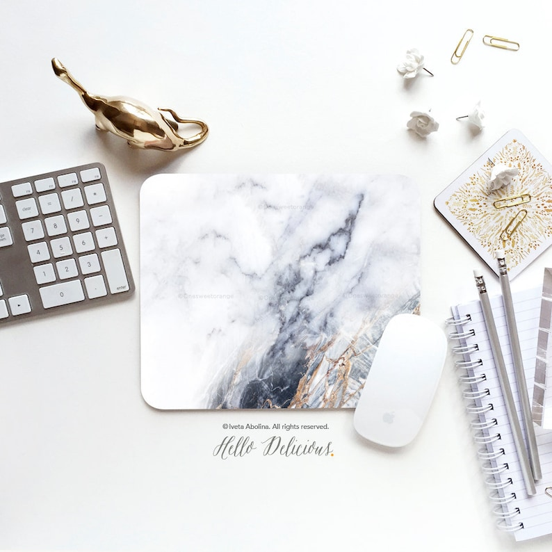 Mouse Pad White Marble Mouse Pad Marble Mouse Pad Office Mouse image 0