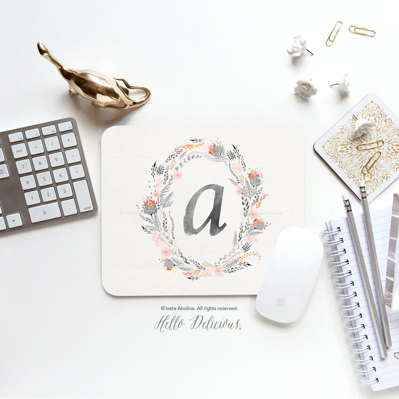 Mouse Pad Monogram Mouse Pad Floral Mouse Pad Office Mouse Pad image 0