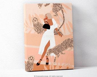 Cheetah Girl Minimalist Leopard Art Line Art Poster Print Line Art Modern Art Minimal Poster Nordic Graphic Art Print Modern Wall Art B59