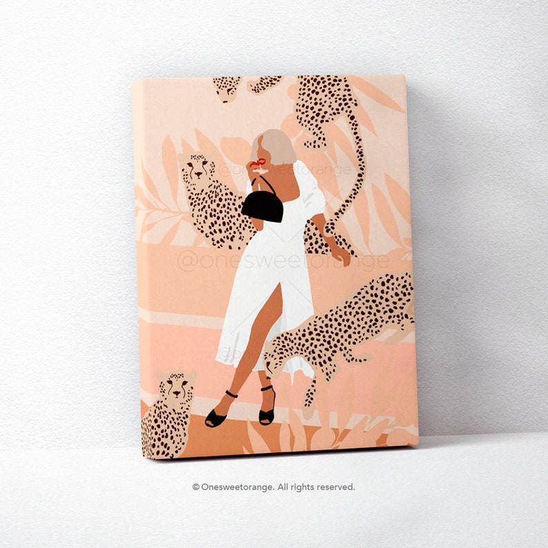 Cheetah Girl Minimalist Leopard Art Line Art Poster Print Line image 0