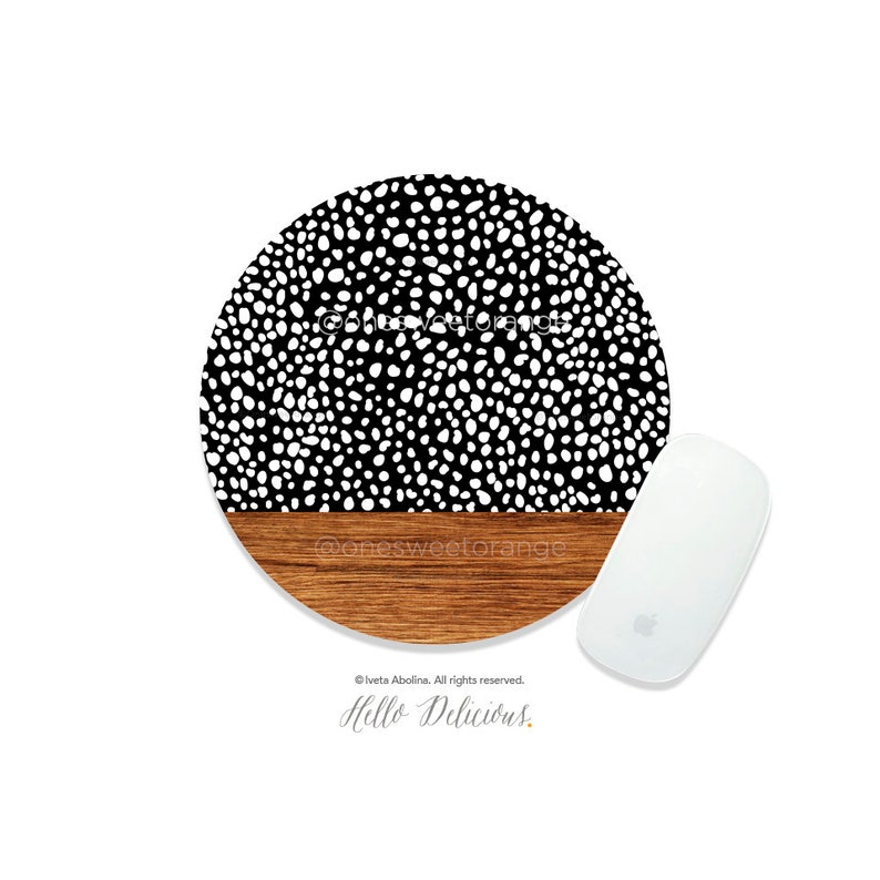 Mouse Pad Wood Polka Dots Mouse Pad Boho Mouse Pad Office Mouse Pad Personalized Mouse Pad Desk Accessories Mouse Pad Round Mouse Pad 162