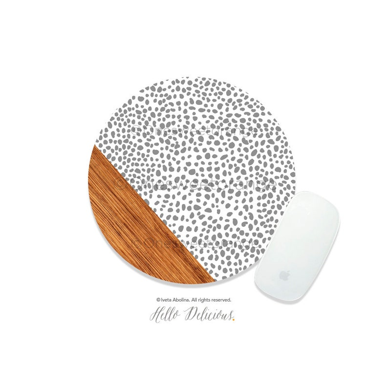 Mouse Pad Wood Polka Dots Mouse Pad Boho Mouse Pad Office Mouse Pad Personalized Mouse Pad Desk Accessories Mouse Pad Round Mouse Pad 140