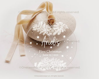Baby's First Christmas Ornament New Baby Gift Acrylic Baby Ornament Gift Personalized Ornament for Newborn Baby Christmas Ornament No.120