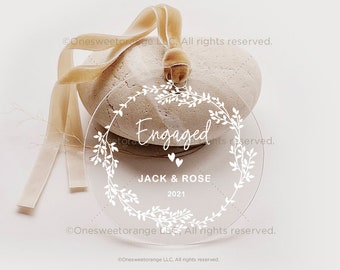 Acrylic Engaged Ornament Engagement Ornament Gift Engagement Party Gift Personalized Engagement Gift Custom Engagement Gift with Names No.24