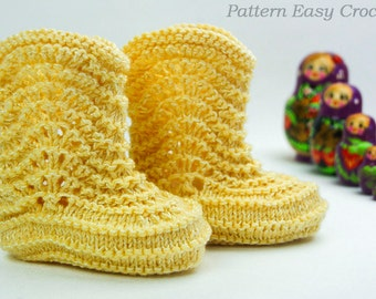 Knitting pattern baby yellow booties - digital file instant download in PDF format