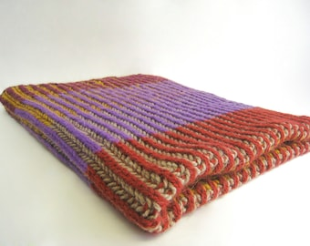 Baby Blanket Knitting Pattern - Knitted Blanket Pattern - Pattern English rib in two colors