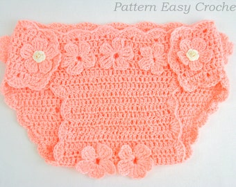 Crochet pattern baby diaper cover floral -  instant download